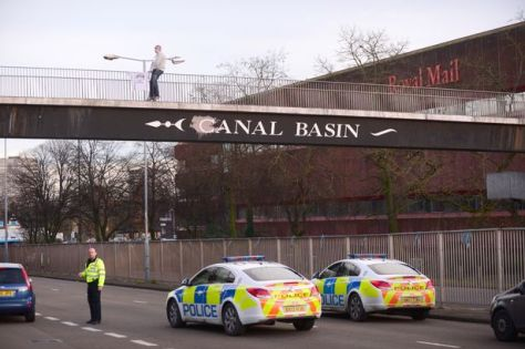 Scene of a protest on the Canal Basin bridge near junction 9 of the Coventry ring road