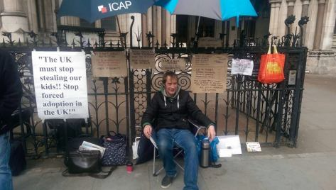 Mark Chambers of Carshalton is on day nine of a hunger strike outside the Royal Courts of Justice in London in a protest intended by him to bring about changes in the social services and family court system.