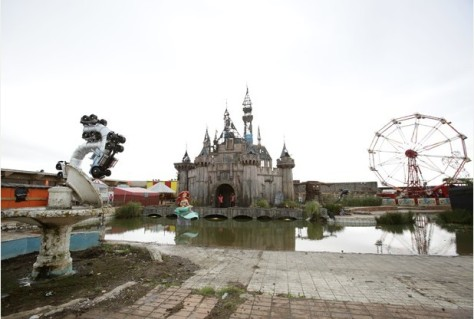 A general view during the press day for the artist Banksy's biggest show to date, entitled 'Dismaland', at Tropicana in Western-super-Mare, Somerset. PRESS ASSOCIATION Photo. Picture date: Thursday August 20, 2015. Photo credit should read: Yui Mok/PA Wire