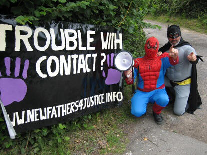 Members of New Fathers for Justice dressed up as superheroes