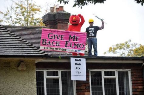 Martin Matthews and Bobby Smith, as Elmo, on the roof